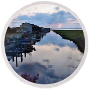 Sunset View At The Art League Of Ocean City - Maryland Round Beach Towel