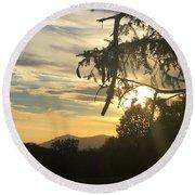 Sunset View From Olana  Round Beach Towel