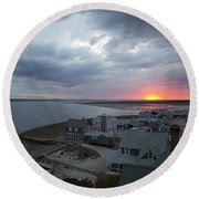 Sunset View From Sandy Neck Light Round Beach Towel
