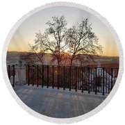 Sunset View  Round Beach Towel