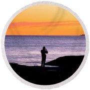 Sunset Watcher Round Beach Towel