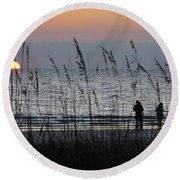 Sunset Watching Round Beach Towel