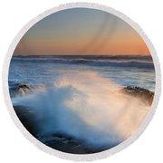Sunset Wave Explosion Round Beach Towel