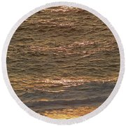 Sunset Waves Over Carmel Beach Round Beach Towel