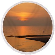 Sunset While Fishing At River Mouth And Lake Michigan Round Beach Towel