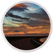 Florida Sunset Winding Road Round Beach Towel