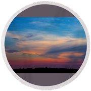 Sunset Windsor Illinois Round Beach Towel