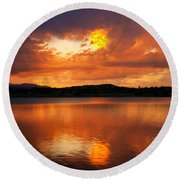 Sunset With A Golden Nugget Round Beach Towel