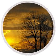 Sunset With Backlit Trees Round Beach Towel