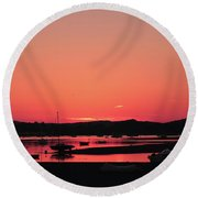 Sunset With Pink Afterglow Round Beach Towel