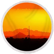 Sunset With Power Pole Round Beach Towel