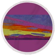 Sunset With Purple Clouds Round Beach Towel