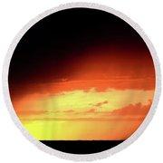Sunset With Rain In Scenic Saskatchewan Round Beach Towel