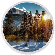 Sunset With Trees Round Beach Towel