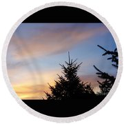 Sunset With Two Pine Trees Round Beach Towel