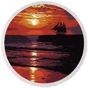 Sunset - Wonder Of Nature Round Beach Towel