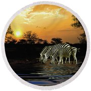 Sunset Zebras At The Watering Hole Round Beach Towel