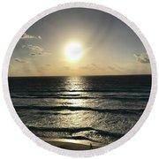 Sunrises And Footprints Round Beach Towel