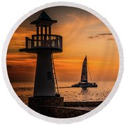 Sunsets And Sailboats Round Beach Towel