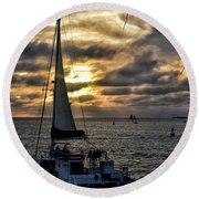 Sunsets And Sails Round Beach Towel