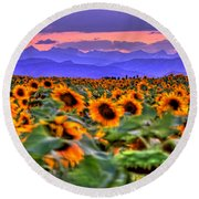 Sunsets And Sunflowers Round Beach Towel