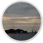 Sunsets On Water Round Beach Towel