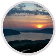 Sunsetting Over Portree, Isle Of Skye, Scotland. Round Beach Towel