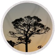 Sunsetting Trees Round Beach Towel