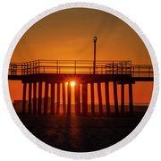 Sunshine At Wildwood Crest Pier Round Beach Towel