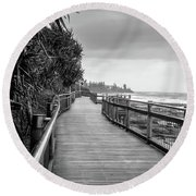 Sunshine Coast Boardwalk  Round Beach Towel