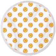 Sunshine Daisy Repeat Round Beach Towel