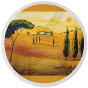 Sunshine In Tuscany In The Morning Round Beach Towel