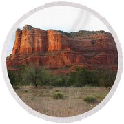 Sunshine On Courthouse Butte Round Beach Towel