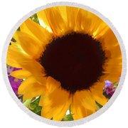Sunshine Sunflower In The Garden Round Beach Towel