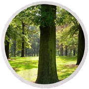 Sunshine Trees Forest Park Round Beach Towel