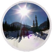 Sunstar Throws Long Shadows Round Beach Towel