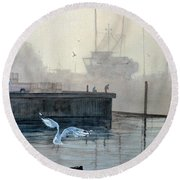 Sunup At The Docks Round Beach Towel
