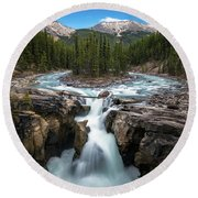 Sunwapta Falls In Jasper National Park Round Beach Towel by James Udall