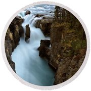 Sunwapta Falls In Jasper National Park Round Beach Towel