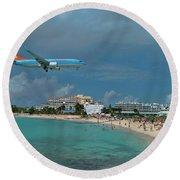 Sunwing Airline At Sxm Airport Round Beach Towel