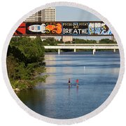 Sup Stand Up Paddle Board Couple Row Under The Focus One Point And Breathe Round Beach Towel