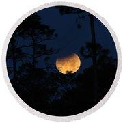 Super Blue Blood Moon Partial Eclipse Round Beach Towel