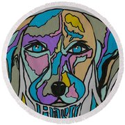 Super Hero - Contemporary Dog Art Round Beach Towel
