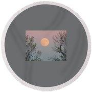 Super Moon At Twilight Round Beach Towel