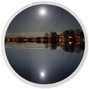 super moon night   Connecticut  Round Beach Towel