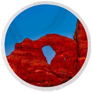 Super Moon Over Arches National Park Round Beach Towel