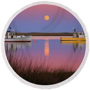 Super Moon Over Nauset Beach Cape Cod National Seashore Round Beach Towel