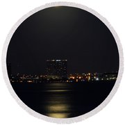 Super Moon Over San Diego 2 Round Beach Towel
