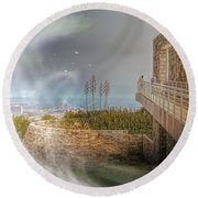 Super Natural Aliens Are Coming Getty Museum  Round Beach Towel