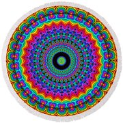 Super Rainbow Mandala Round Beach Towel